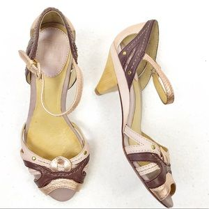 Frye Agnes Woven Metallic Leather Sandals 6